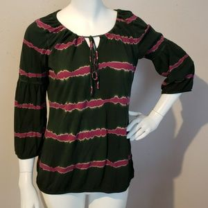Lucky Green Pink Blouse 3/4 Sleeves Women Size M